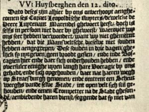 News from Huysberghen, detail. Taken from: Broer Jansz. Tijdinghen uyt verscheyde Quartieren, Amsterdam: 01.06.1622 (Dahl No 100)