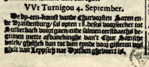 News from Turnigou, detai. Taken from:  Broer Jansz. Tijdinghen uyt verscheyde Quartieren, Amsterdam: 17.09.1622 (Dahl No 106).