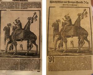 Werner Eberhard Happel: Thesaurus Exoticorum. Hamburg: Thomas von Wiering, 1688. S. 28. Türckis. Estats- und Krieges-Bericht Nr. 2. Hamburg: Thomas von Wiering, 1683, S. [1]r.